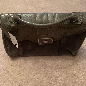 Gray Leather/Suede Nine West Shoulder/Hans Bag